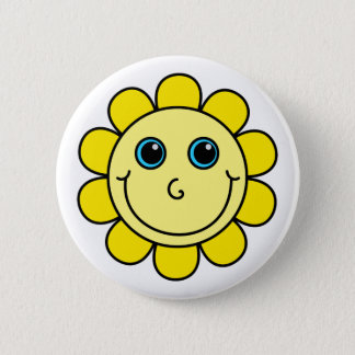 Cute Yellow Smiley Face Flower 6 Cm Round Badge