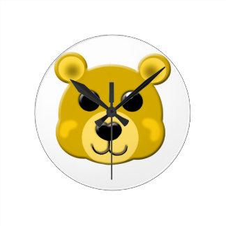 cute yellow teddy bear face wallclock