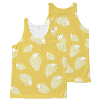 CUTE YELLOW WHITE WATERCOLOUR STRAWBERRIES All-Over PRINT SINGLET