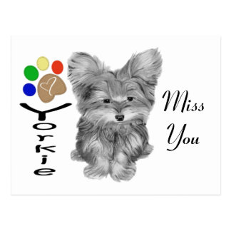 Cute Yorkie Dog and Paw Print Art Gifts Postcard