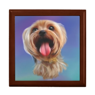 Cute yorkshire terrier,yorkie,digital art gift box