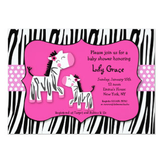 Cute Zebra Prints Stripes Baby Shower Invitaitons Invite