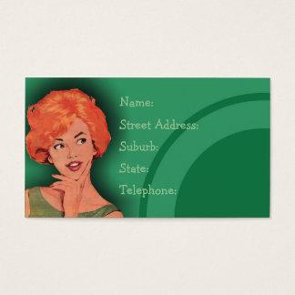 Cutesy Retro Redhead Hairdressing Card Green