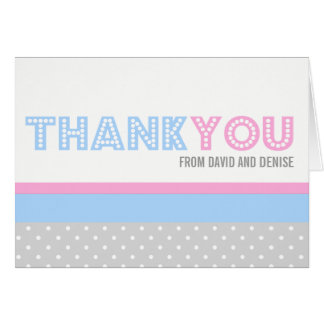 Cutie Dots Gender Reveal Thank You Card
