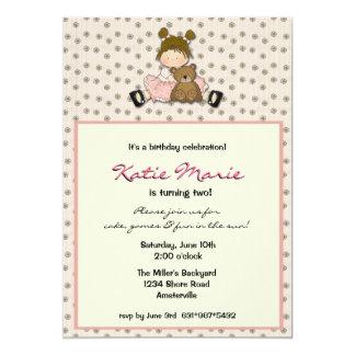 Cutie Girl With Bear Invitaiton 13 Cm X 18 Cm Invitation Card