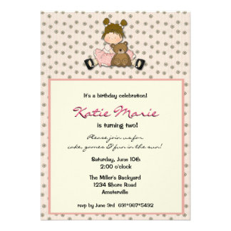 Cutie Girl With Bear Invitaiton Custom Invitations