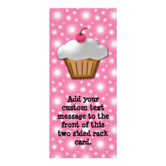 Cutout Cupcake with Pink Cherry on Top Rack Card Template