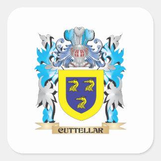 Cuttellar Coat of Arms - Family Crest Square Sticker