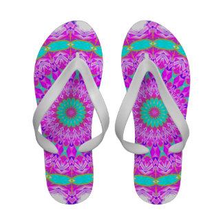Cyan and Magenta Kaleidoscope Flip-Flops