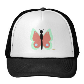 Cyan And Pink Butterfly Cap