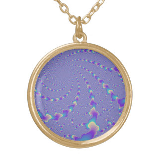 Cyan And Purple Spiraling Lights Fractal Art Gold Plated Necklace