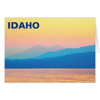 Cyan and Salmon Sunset Greeting Card