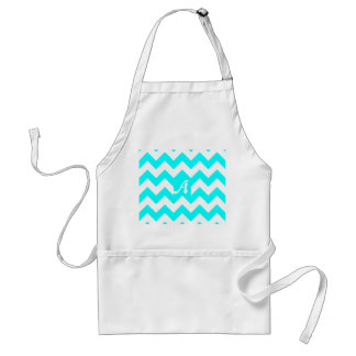 Cyan and White Zigzag Monogram Standard Apron
