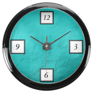 Cyan Aqua Blue Foil Printed Fish Tank Clocks