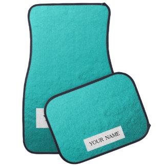 Cyan Aqua Blue Foil Printed Car Mat