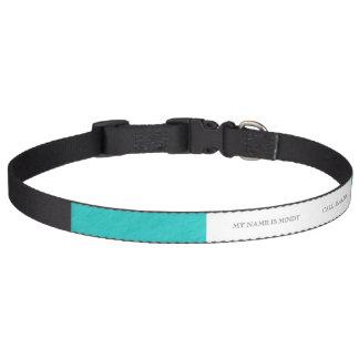 Cyan Aqua Blue Foil Printed Pet Collar