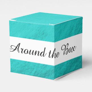 Cyan Aqua Blue Foil Printed Favour Box