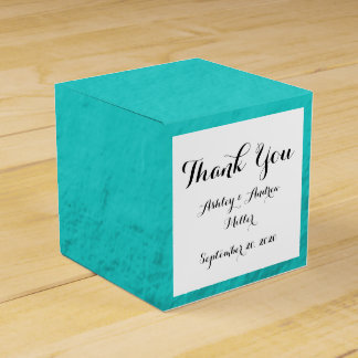 Cyan Aqua Blue Foil Printed Wedding Favour Box
