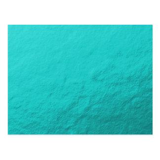 Cyan Aqua Blue Foil Printed Postcard