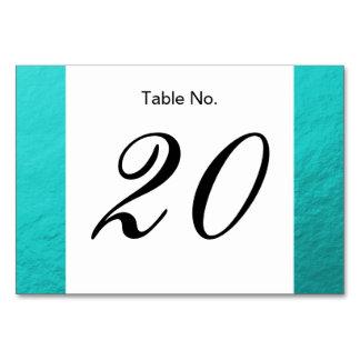 Cyan Aqua Blue Foil Printed Table Cards