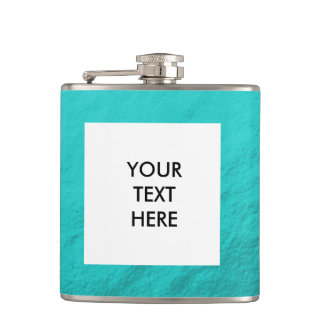 Cyan Aqua Blue Foil Printed Hip Flask