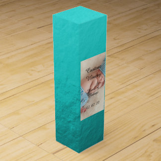 Cyan Aqua Blue Foil Printed Wine Bottle Box
