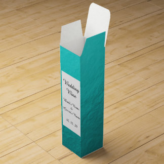 Cyan Aqua Blue Foil Printed Wine Gift Boxes