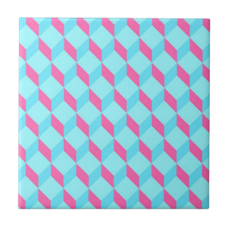 Cyan Cubes Small Square Tile