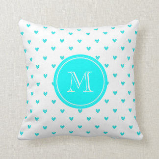 Cyan Glitter Hearts with Monogram Cushion