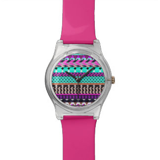 Cyan Magenta Aztec Pattern Wrist Watch