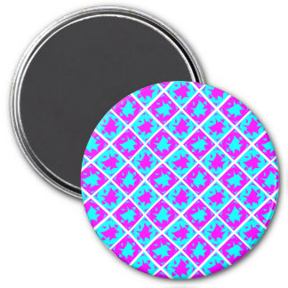 Cyan & Pink abstract Design 7.5 Cm Round Magnet