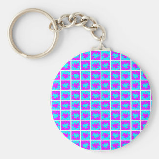 Cyan & Pink abstract Design Basic Round Button Key Ring