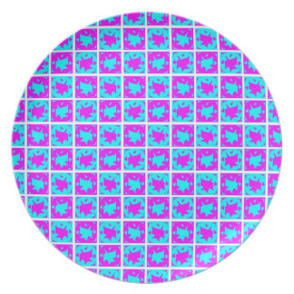 Cyan & Pink abstract Design Plate