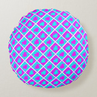 Cyan & Pink abstract Design Round Cushion