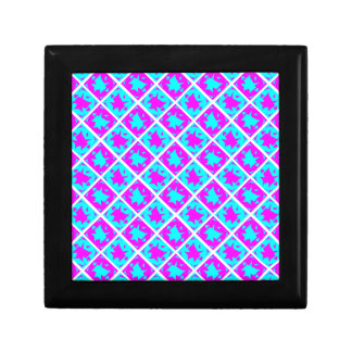 Cyan & Pink abstract Design Small Square Gift Box