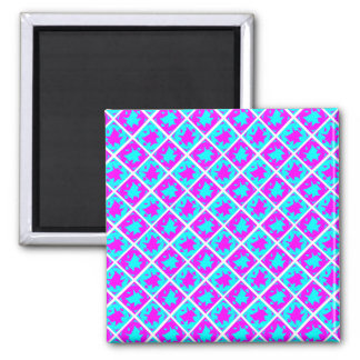 Cyan & Pink abstract Design Square Magnet