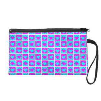 Cyan & Pink abstract Design Wristlet
