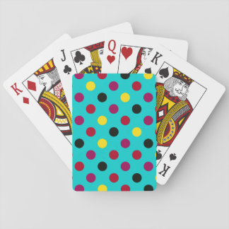 Cyan Pink blue Polka Dots Playing Cards Deck