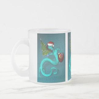 Cyan Santa Dragon Frosted Glass Mug
