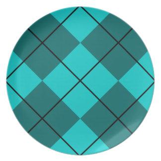 Cyan Teal Blue Argyle Plate