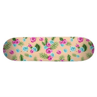 Cyan x Pink Flowers Pattern 20.6 Cm Skateboard Deck