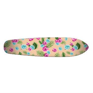 Cyan x Pink Flowers Pattern 21.6 Cm Skateboard Deck