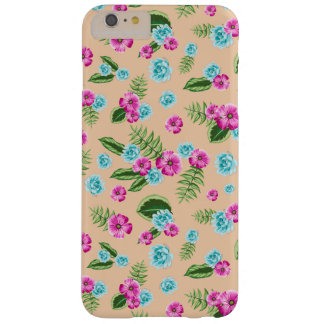 Cyan x Pink Flowers Pattern Barely There iPhone 6 Plus Case