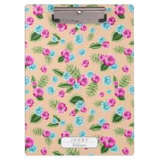 Cyan x Pink Flowers Pattern Clipboards