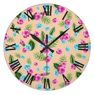 Cyan x Pink Flowers Pattern Clocks