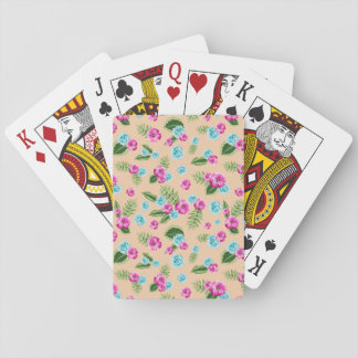 Cyan x Pink Flowers Pattern Deck Of Cards