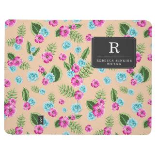 Cyan x Pink Flowers Pattern Journal