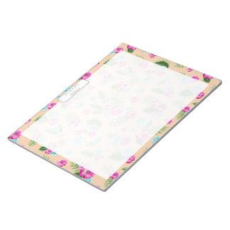 Cyan x Pink Flowers Pattern Memo Note Pad