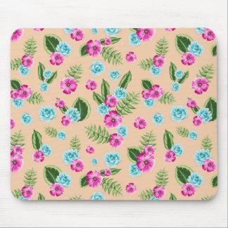 Cyan x Pink Flowers Pattern Mouse Pad
