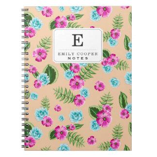 Cyan x Pink Flowers Pattern Notebook